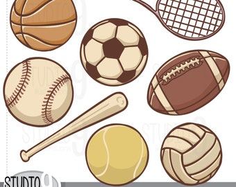 "Sports Clip Art: ""VINTAGE SPORTS BALLS"" Clipart, Football Clipart Soccer Baseball Clipart Basketball Clipart, Instant Download"