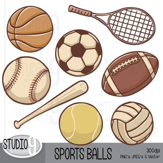 sports clip art vintage sports balls clipart football clipart rh etsystudio com Sports Balls Clip Art Black and White Sports Balls Border Clip Art