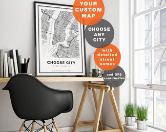 custom map print custom city map print personalized map custom map art city map art custom map poster any city choose city map art