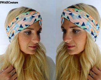 Turban Headband Wide Head Wrap Geometric Chevron Twist Headband Coral Mint Navy Turband Bohemian Headband Hair Accessories or Choose Color