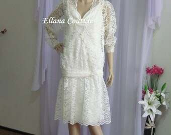 Sample Sale. Vintage Inspired Tea Length Wedding Dress. Flapper Style.