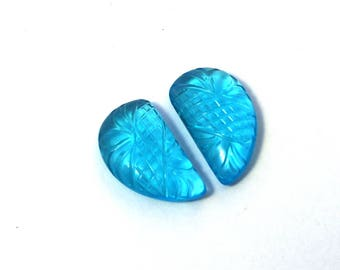2 Pcs 1 Pair 20x12mm Swiss Blue Quartz Hand Carved Fancy Leaf Briolette / Carved Gemstone / Engraved Beads Select Drill Hole / CQ07