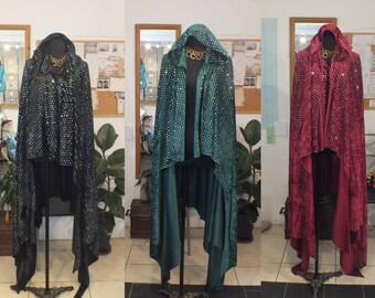 Cloak Hooded Velvet Sequins