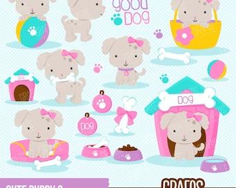 CUTE PUPPY 2  - Digital Clipart Set, Puppy Clipart, Dog Clipart, Pets Clipart