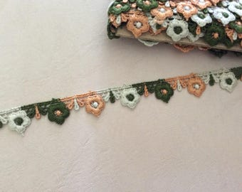 Ribbon lace 2 cm in width to khaki beige and orange