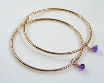 Rose Gold Hoop Earrings, Huge Hoop Earrings, Hoop Earrings Gold, Rose Gold Jewelry, Amethyst Earrings, Birthstone Earrings, E2446