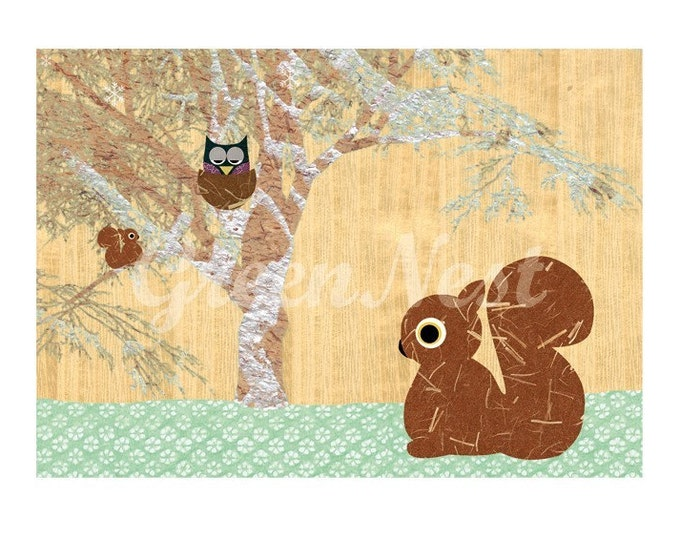Cute Squirrel and Owl Collage Print Poster