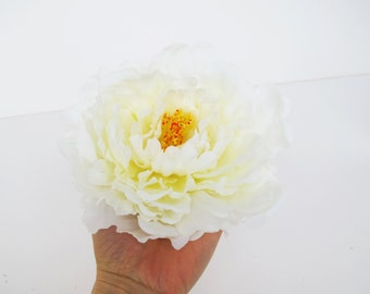 8 White Silk Peonies Big Artificial Flowers Peony White Yellow Flower DIY Wedding Crafts Decoration Decor Spring Summer Simulation Flower