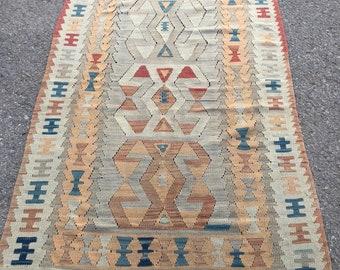 """58"""" x 40"""" small rug , turkish rug, area rug , pastel rug , pastel kilim , kayseri kilim"""