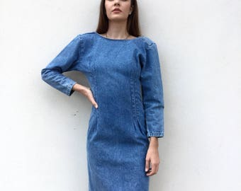 Fierce 80s denim dress with exposed back