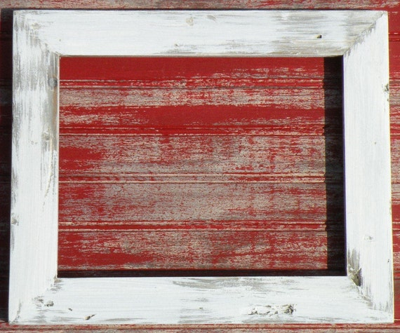 White Washed Barn Wood Style Distressed Picture Frame