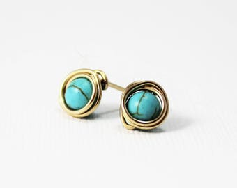 Turquoise Howlite and 14K Gold Filled Earrings / Wire Wrapped Jewelry / Post Earrings / Simple Gold Jewelry
