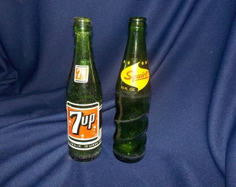 7 Up and Squirt, Two Vintage Pop Bottles, Soda Bottles 1962 and 1966, 10 ounce, ACL