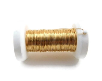 GOLD-PLATED enamelled copper jewellery wire - 0.25mm/30 gauge wire reel, 35 metres