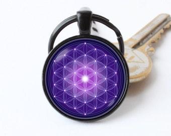 Mandala key chain Mandala key ring Mandala pendant Purple mandala Boho keychain Bohemian keyring Mandala jewelry Mandala gift Zen key chain