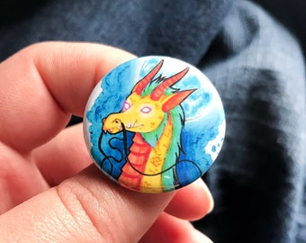 Dragon Pinback Button | 1 1/4 Inch | Moon | Night | Glow | Fantasy | Creature | Mythical | Colorful | Illustration | Wearable Art | Drawing