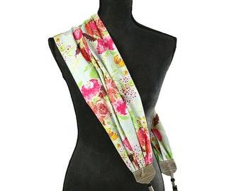 scarf camera strap painted bouquet - BCSCS132