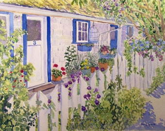 Cottage Watercolor Painting Picket Fence Flowers Summer Painting Original Watercolor Original Art Original Painting Matted