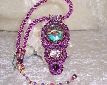 FUCHSIA DRAGONFLY - OOAK Bead Embroidered Necklace in Fuchsia, Purple and Bronze