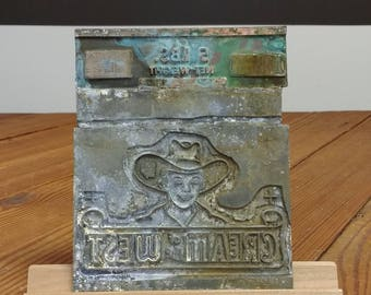 Printer Block; Letterpress; Flour Bag Advertising; Cream of the West; Vintage Industrial; Industrial Farmhouse Antique; Electrotype