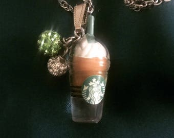 Necklace with Starbucks Frappuccino charm
