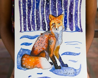 Fox in the Woods: Original Watercolor and Ink Painting- Animal Illustration