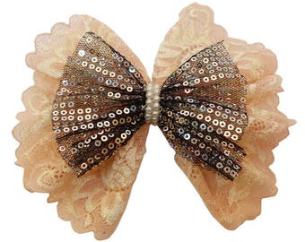 hair clip bow tie yellow and salmon sequin lace silver black tulle