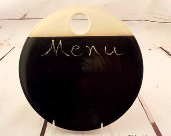 Stoneware Cheese Platter - Ceramic Chalkboard - Menu Board Slate - Pottery Disc - Black Satin Glaze - Appetizer Plate - Ready to Ship v636