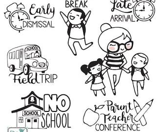 Planner Girl - School Stamp Clipart - Planner Stickers, scrapbook , card design, invitations, paper crafts, INSTANT DOWNLOAD