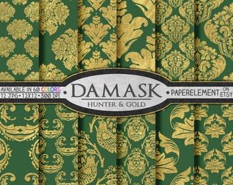 Hunter Green and Gold Damask Backgrounds - Gold and Green Printable Patterns, Gold Foil Damask Wedding Papers, Instant Download Backdrops