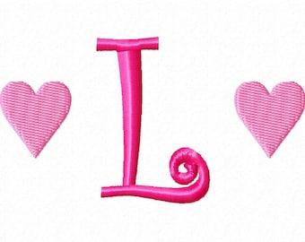 Heart Valentines Machine Embroidery Monogram Font Set 2
