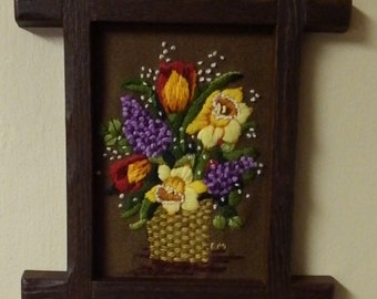 Vintage Flowers in Basket Needlepoint Wall Hanging Framed