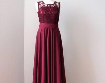Long burgundy bridesmaid dress  Burgundy lace dress Long burgundy dress burgundy bridesmaid dress  Lace and chiffon bridesmaid dress