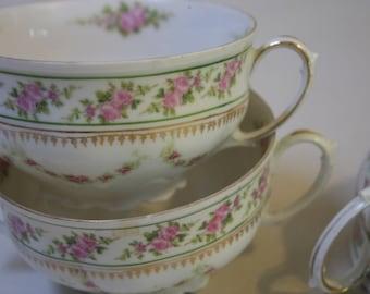 3 Antique Cream Soups Bouillon Cups Pink Roses Gilt Trim MZ Austria Altrohlau