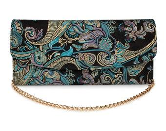 Leather Clutch, Leather Clutch Bag Purse, Blue Leather Clutch KF-1641