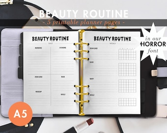HORROR font Beauty Routine Skin Care Make Up Daily Weekly Monthly Printable Planner Pages A5 Planner - Filofax Kiki K