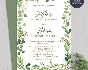 Watercolor Greenery Wedding Invitation Botanical Wedding Invitations Greenery Wreath Invite Rustic Outdoor Wedding Invite - 2018