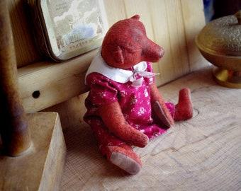 JEANETTE ,Antique Teddy Bear, Vintage Teddy Bear, English Bear, straw filled teddy bear, antique childerns toy,
