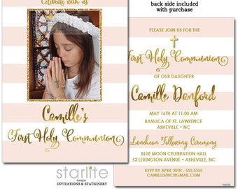 First Communion Invitation Girl with Photo, Photo First Communion Invitation Girl, 1st Communion Invitation Pink and Gold Printable, Printed