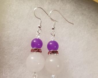 Jade Crystal Earrings, Jade Earrings, Dangle Earrings, Silver earrings, womans gift, Purple crystal earrings, Gift for her