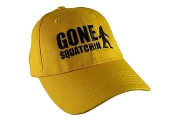 Gone Squatchin Black Sasquatch Bigfoot Humorous Embroidery Design on a Yellow Adjustable Structured Baseball Cap for Kids Age 6 to 14