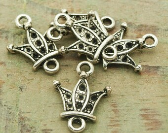 """Crown"" 30 x silver color charms"