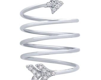 Beautiful Spiral Arrow Ring. Arrow Ring. Silver Arrow Ring. Cz Arrow Ring. Pave Arrow Ring. Spiral Arrow Ring. Spring Ring.