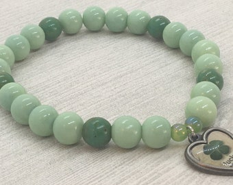 Green Lucky Charm Beaded Stretch Bracelet