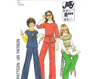 Girls Vintage Pattern Pullover Top, Pants Simplicity 8122 Trousers Tween Girls Size 14 Sewing Pattern UNCUT