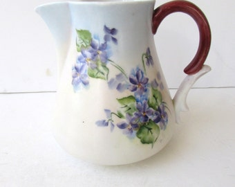 Vintage Porcelain Pitcher - Hand painted Violets - White - Violet - Purple - Green - Ceramic Pitcher - Painted Pitcher -