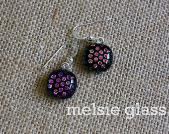 Metallic Polka glass earrings - dichroic glass dangly, sparkly earrings, polka dots
