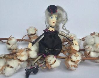 SALE -OOAK Art Doll Brooch Amanda With a Cat