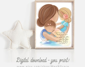 INSTANT DOWNLOAD Gift for Mom or Wife - Mother Daughters - Mother Brunette, Daughter Blonde, Little Girl Curly Brown - Family Wall Art Print