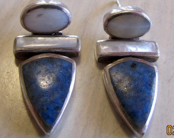 Sterling Silver and Denim Lapis Dangle Post Earrings